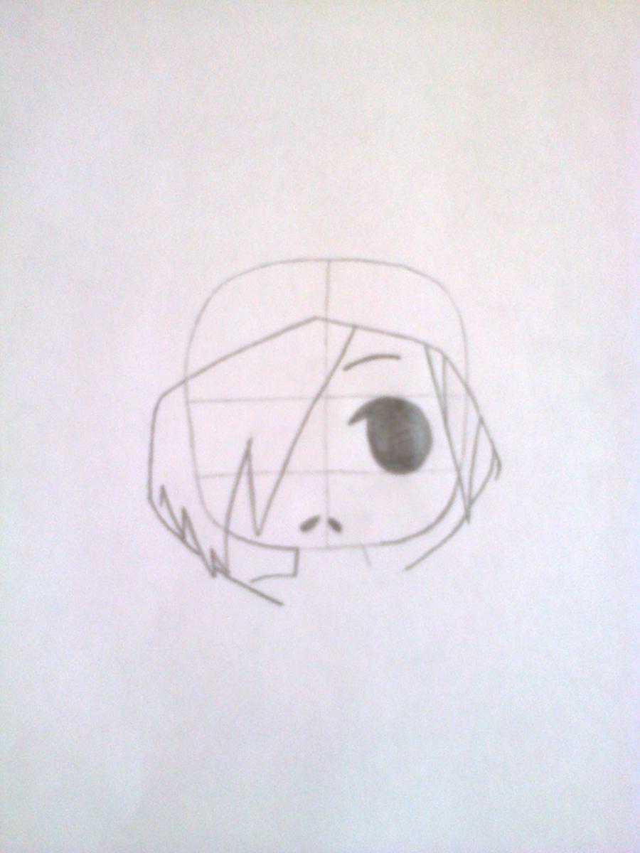 Рисуем чиби-девочку в костюме панды простыми карандашами - шаг 3