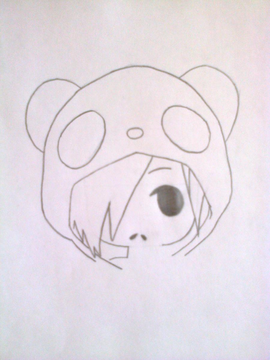 Рисуем чиби-девочку в костюме панды простыми карандашами - шаг 4