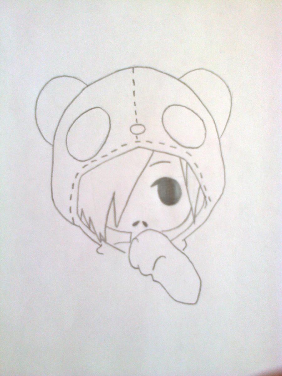 Рисуем чиби-девочку в костюме панды простыми карандашами - шаг 5