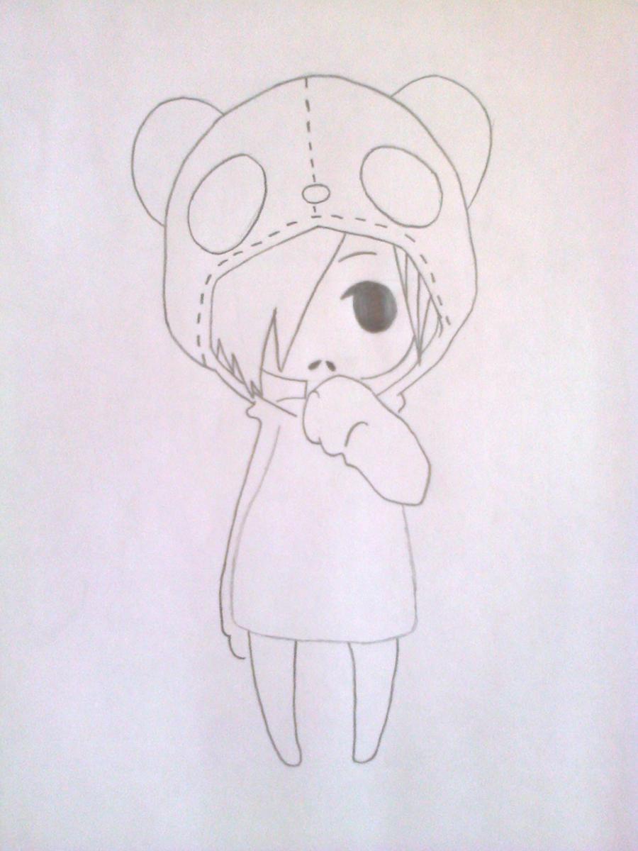 Рисуем чиби-девочку в костюме панды простыми карандашами - шаг 6
