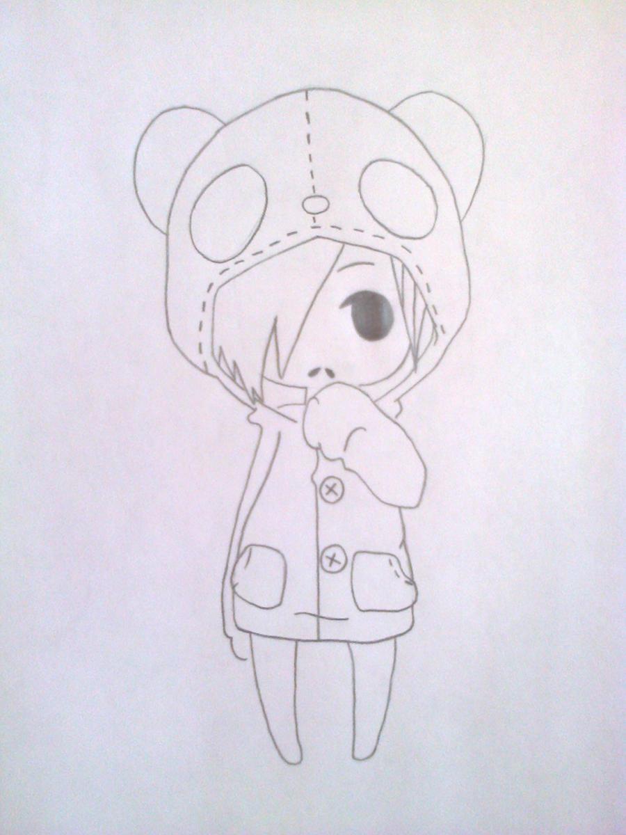 Рисуем чиби-девочку в костюме панды простыми карандашами - шаг 7