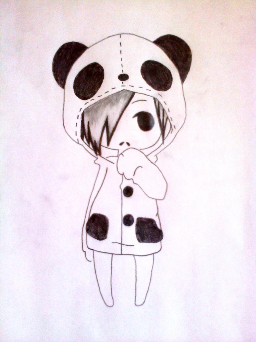 Рисуем чиби-девочку в костюме панды простыми карандашами - шаг 8