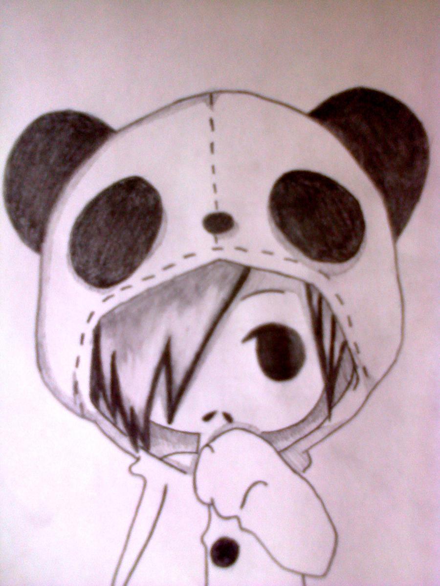 Рисуем чиби-девочку в костюме панды простыми карандашами - шаг 9