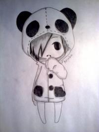 чиби-девочку в костюме панды