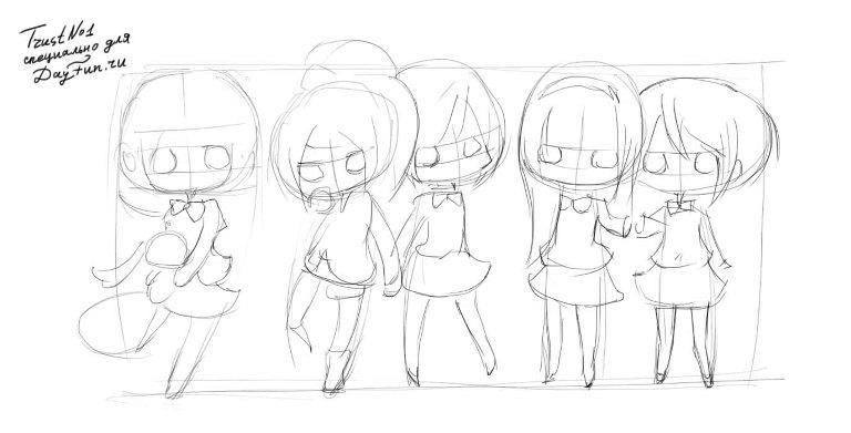 kak_narisovat_chibi_devochek_karandashom_pojetapno-2 Как нарисовать милую чиби девочку карандашом поэтапно