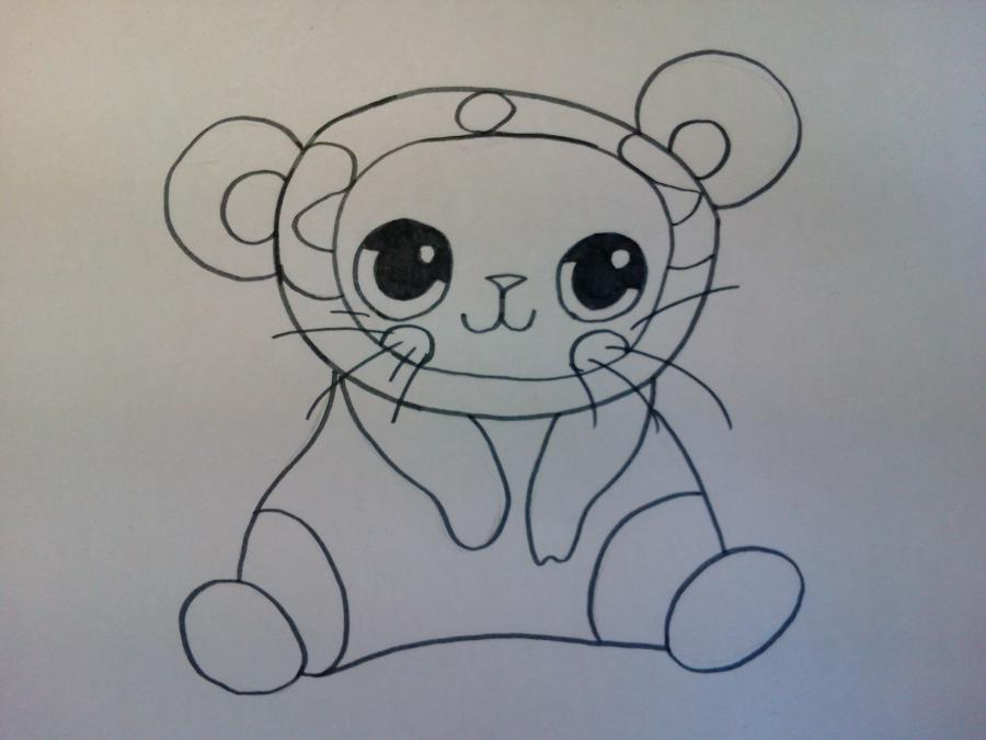 Рисуем чиби котенка в костюме панды - шаг 4