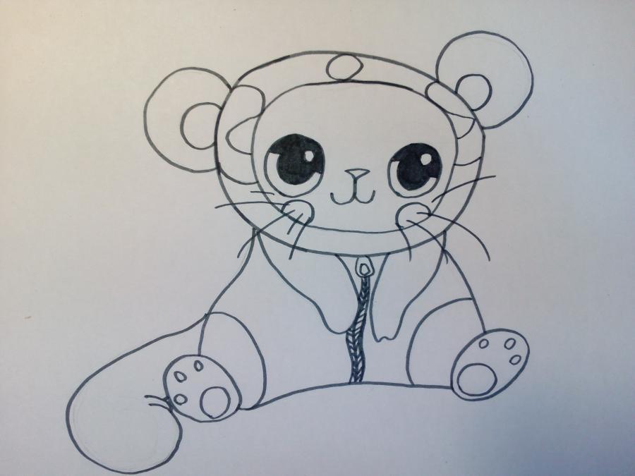 Рисуем чиби котенка в костюме панды - шаг 5
