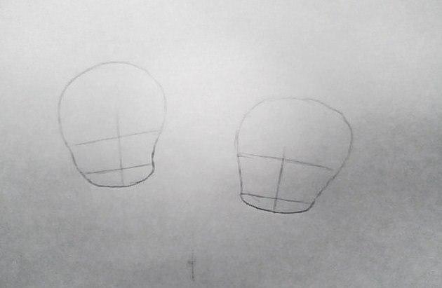 Рисуем чиби девушек в новогодней одежде карандашами - шаг 1