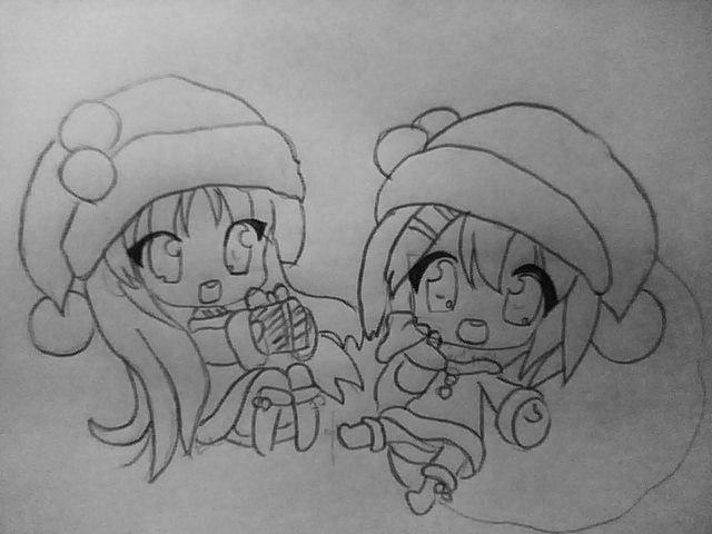 Рисуем чиби девушек в новогодней одежде карандашами - шаг 4