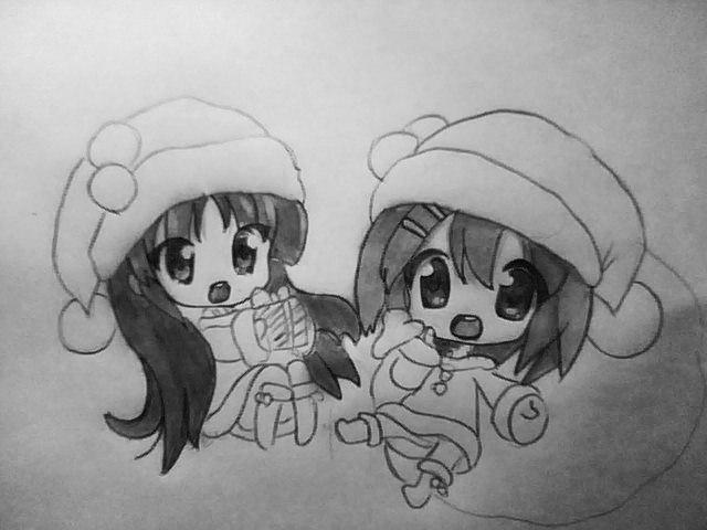 Рисуем чиби девушек в новогодней одежде карандашами - шаг 6