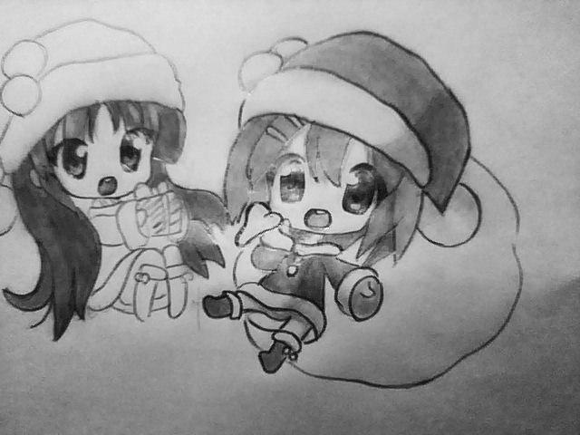 Рисуем чиби девушек в новогодней одежде карандашами - шаг 7