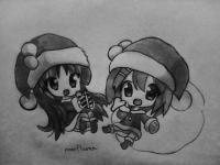 чиби в новогодней одежде карандашом