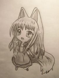 чиби волчицу карандашом