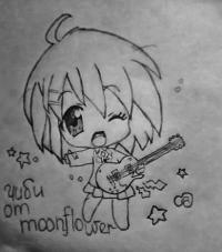 девочку с гитарой в стиле Чиби карандашом