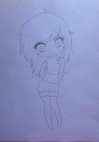 Рисуем девушку кошку в стиле чиби - шаг 4