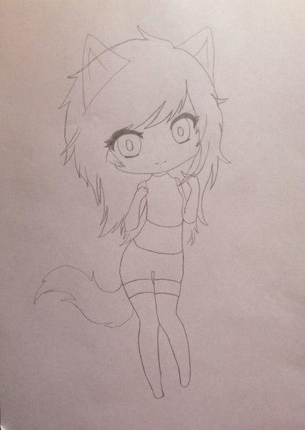 Рисуем девушку кошку в стиле чиби - шаг 5