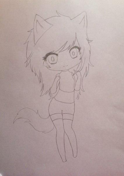 Рисуем девушку кошку в стиле чиби - шаг 6