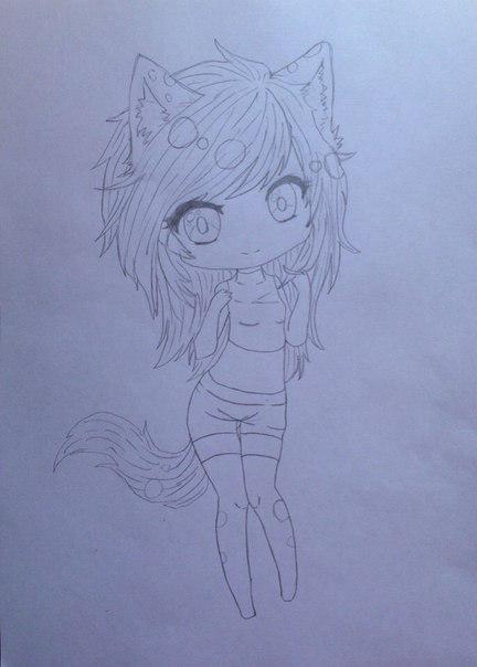 Рисуем девушку кошку в стиле чиби - шаг 7