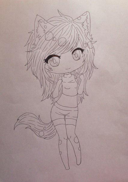 Рисуем девушку кошку в стиле чиби - шаг 8