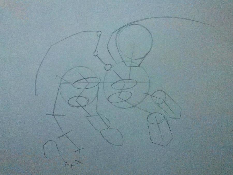 Рисуем дракона в стиле чиби карандашами и ручкой - шаг 4