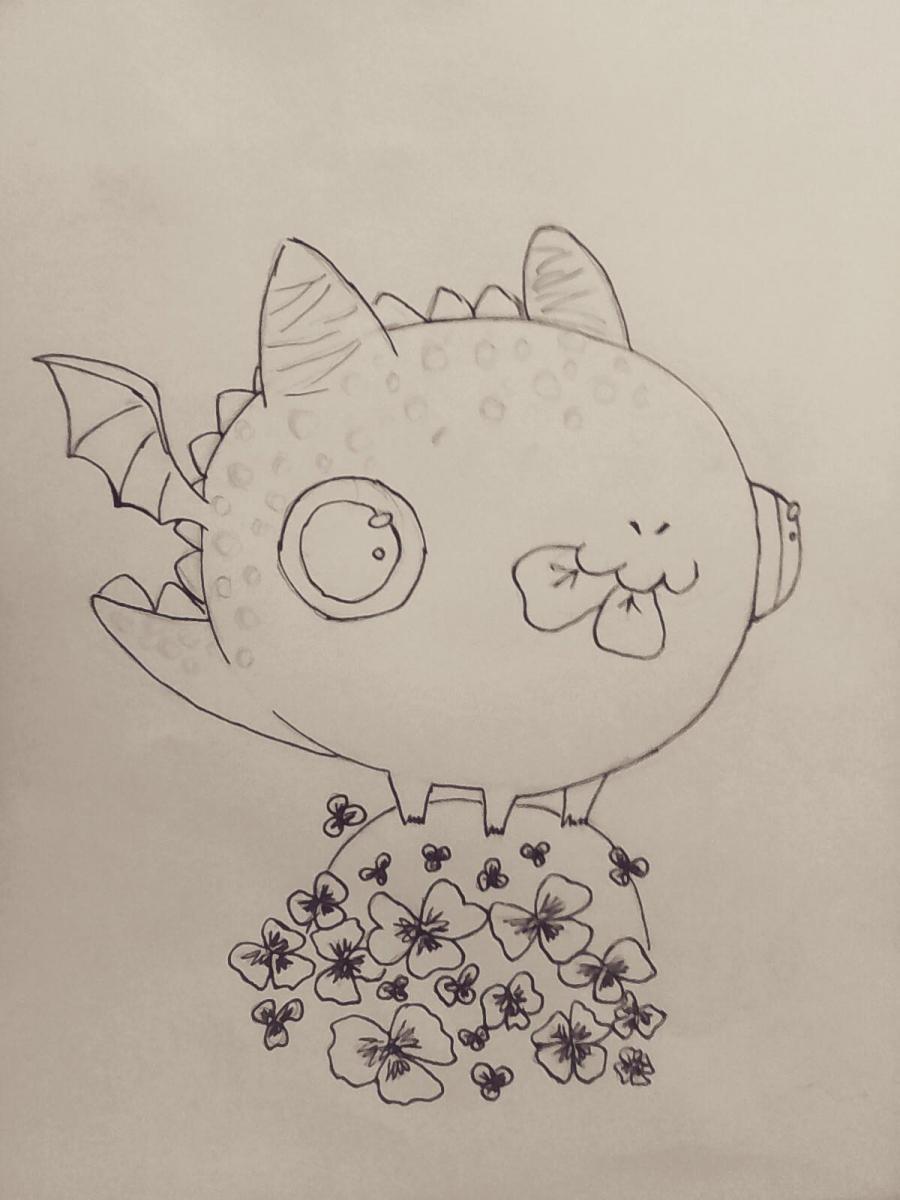 Рисуем дракончика с клевером - шаг 8