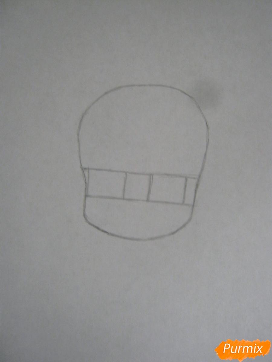 Рисуем и раскрасить Гаару в стиле чиби карандашами - шаг 1