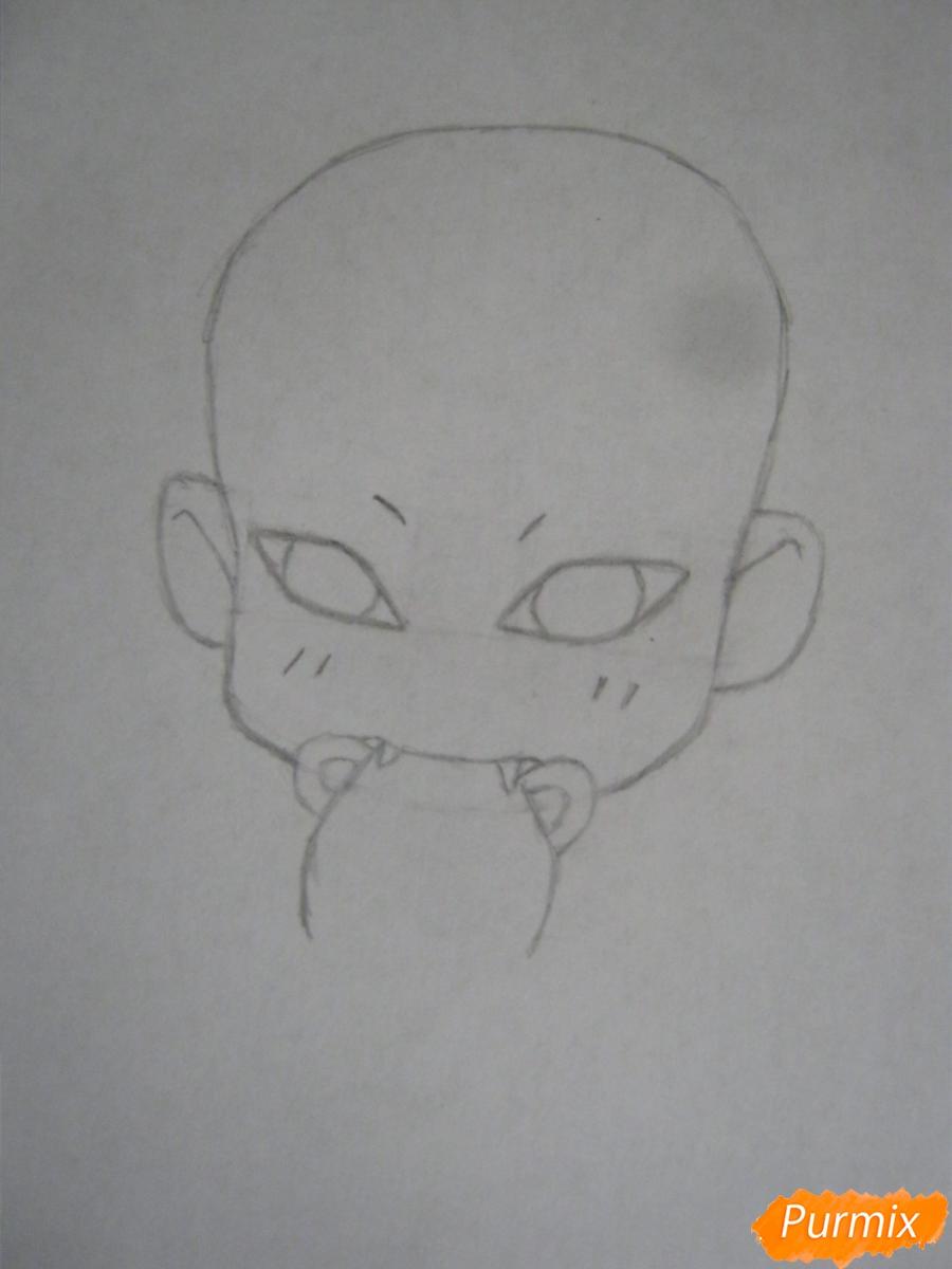 Рисуем и раскрасить Гаару в стиле чиби карандашами - шаг 2