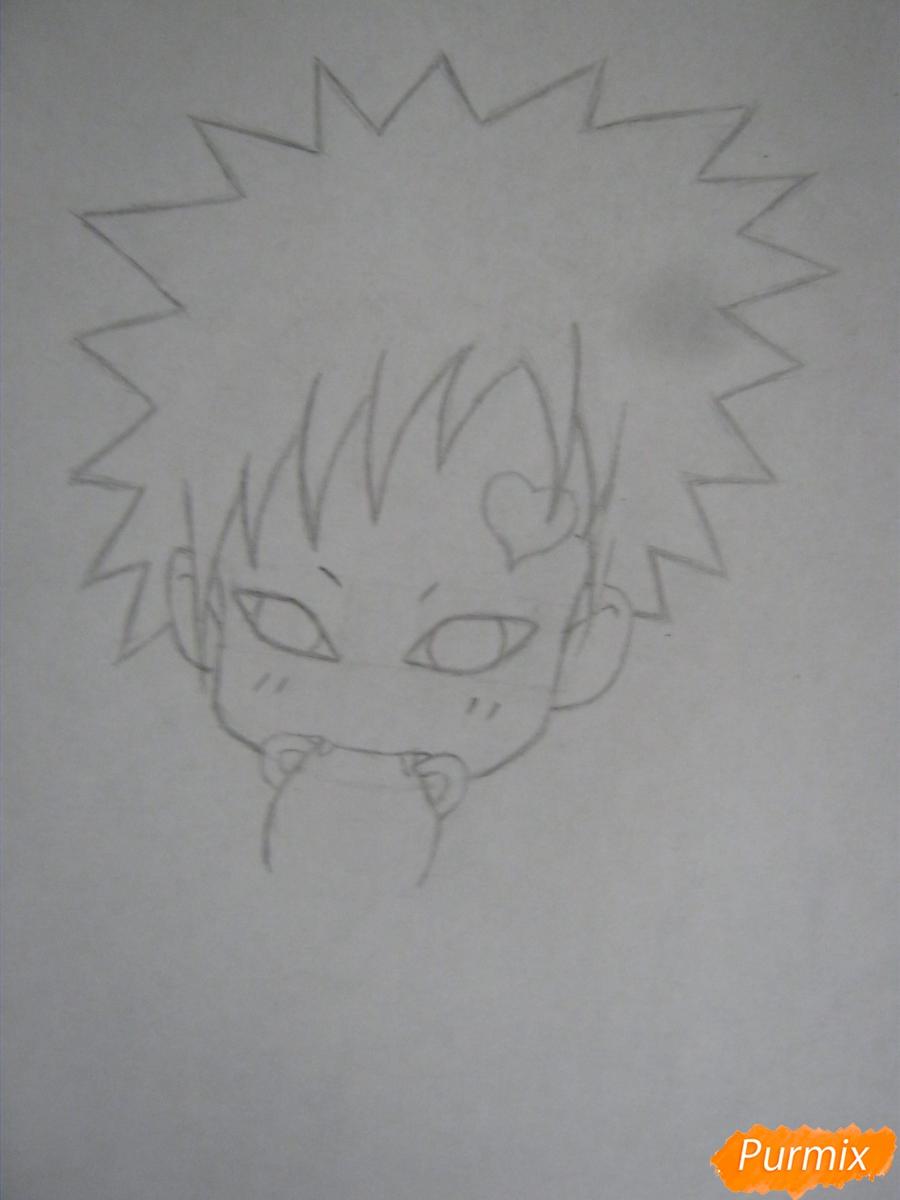 Рисуем и раскрасить Гаару в стиле чиби карандашами - шаг 3