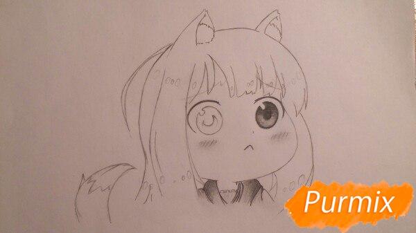 Рисуем Холо из аниме Волчица и пряности в стиле чиби - шаг 2