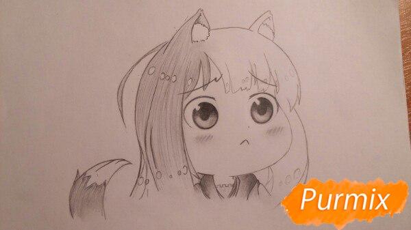 Рисуем Холо из аниме Волчица и пряности в стиле чиби - шаг 4