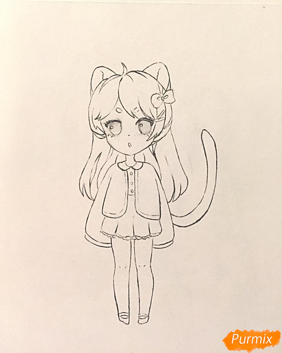 Рисуем и раскрасить девочку-кошку в стиле чиби - шаг 11