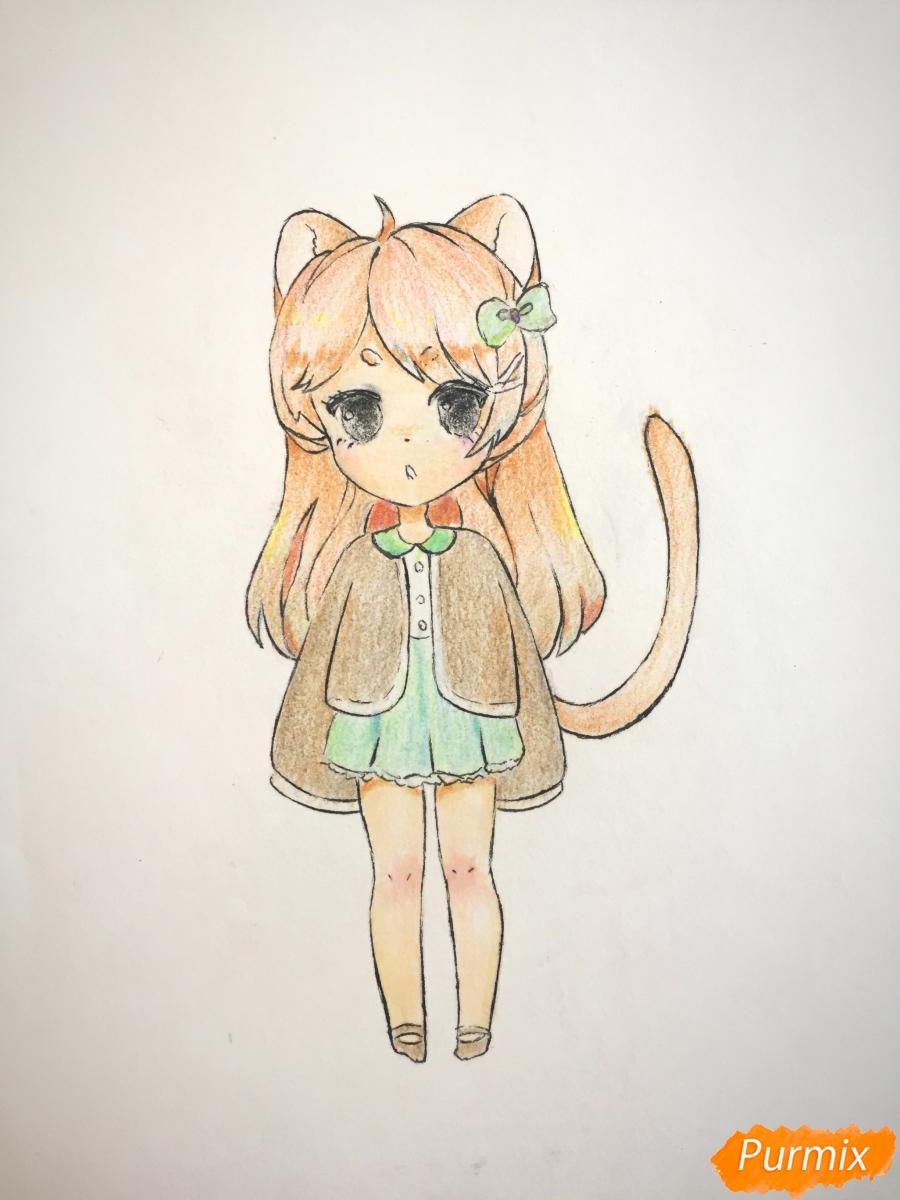 Рисуем и раскрасить девочку-кошку в стиле чиби - шаг 12