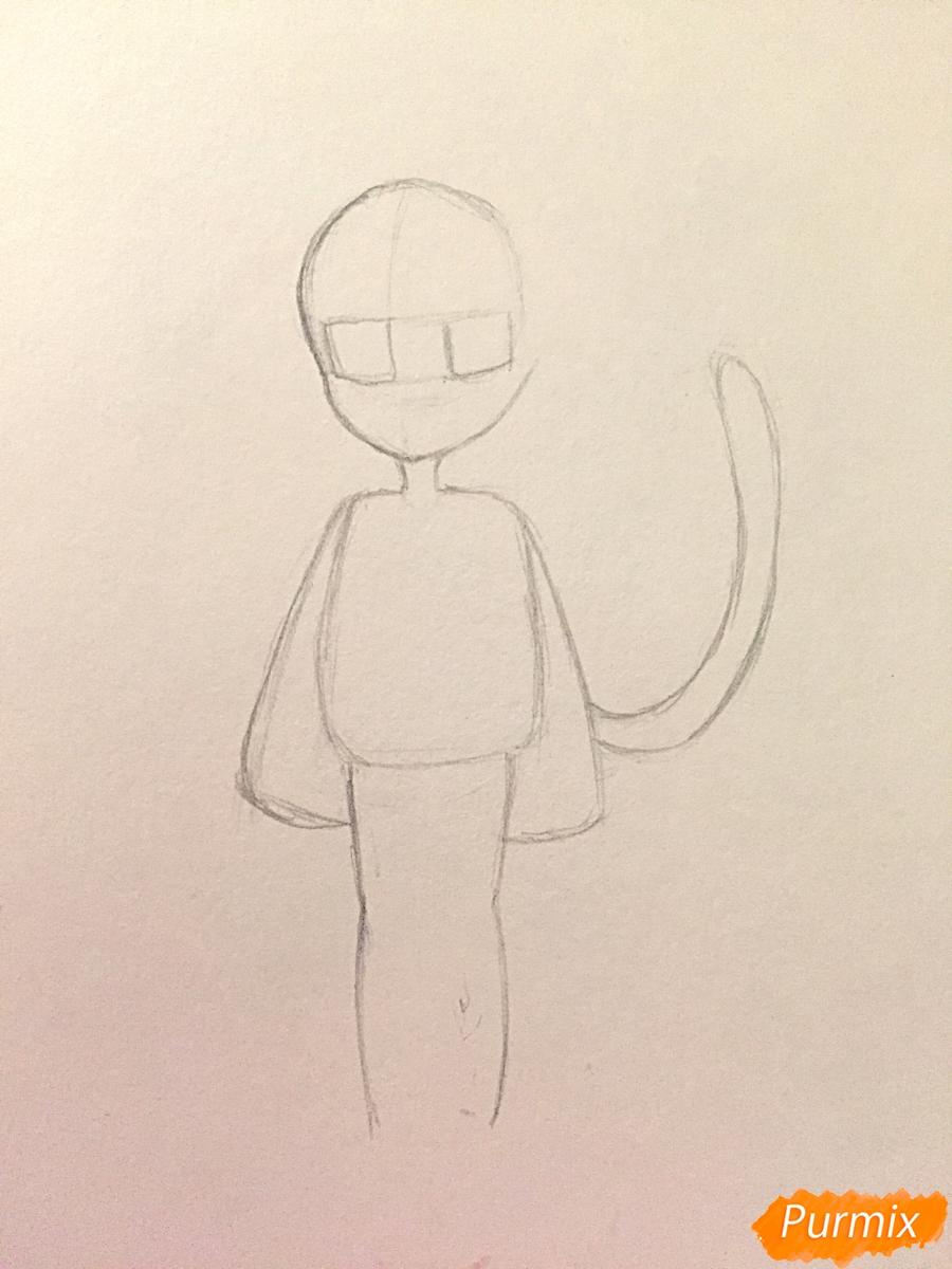 Рисуем и раскрасить девочку-кошку в стиле чиби - шаг 5