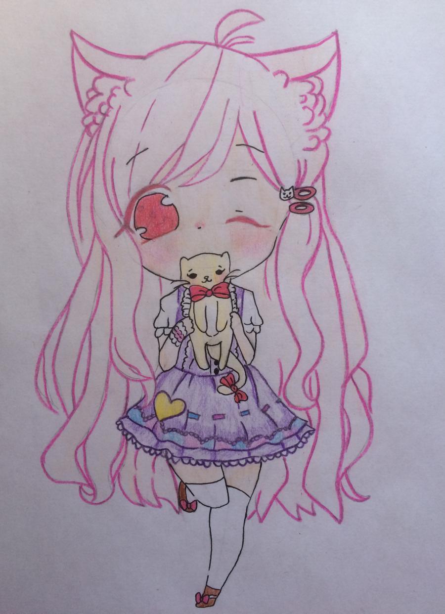 Рисуем и раскрасить девочку с котёнком в стиле чиби - шаг 10