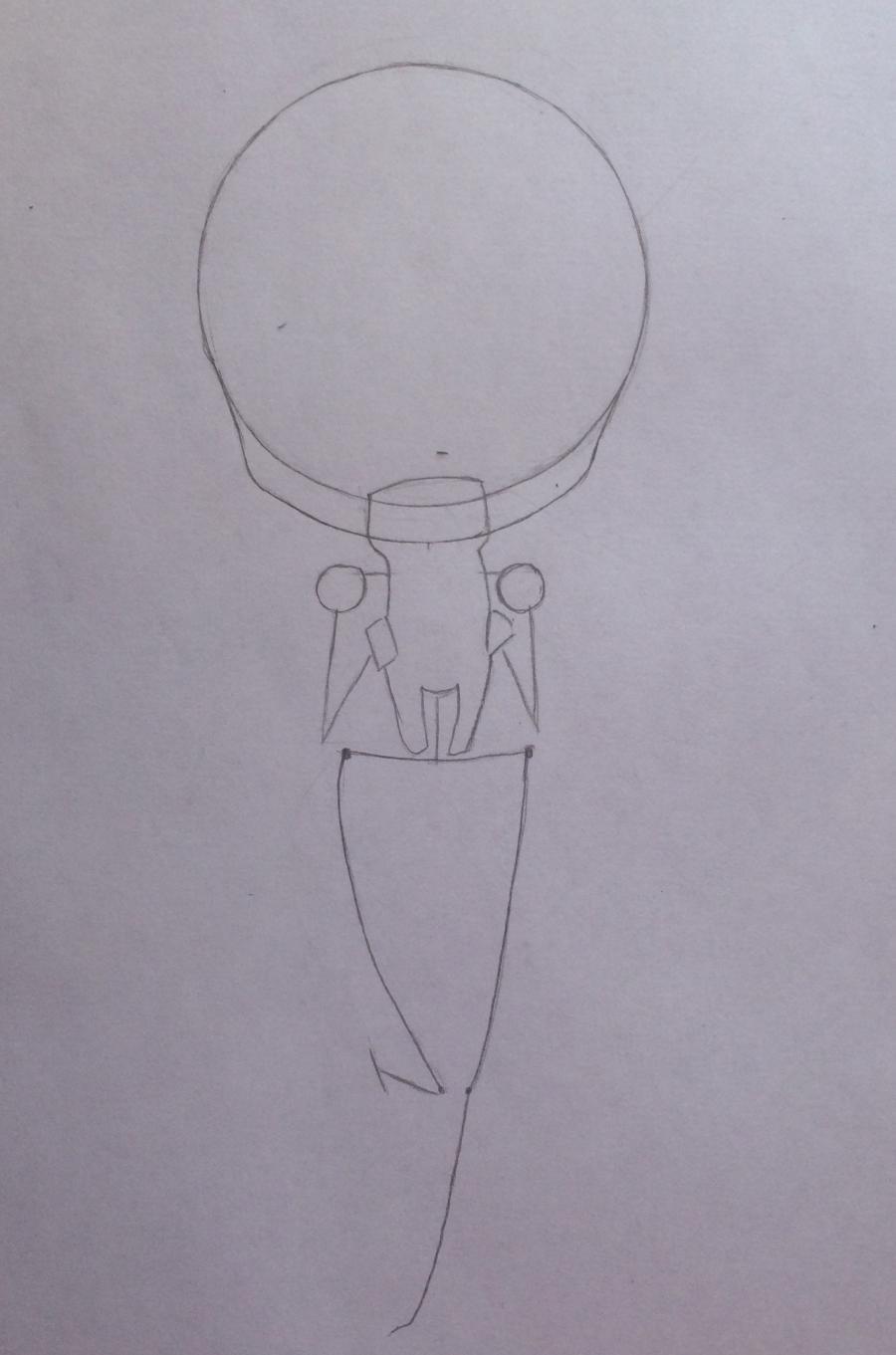 Рисуем и раскрасить девочку с котёнком в стиле чиби - шаг 3