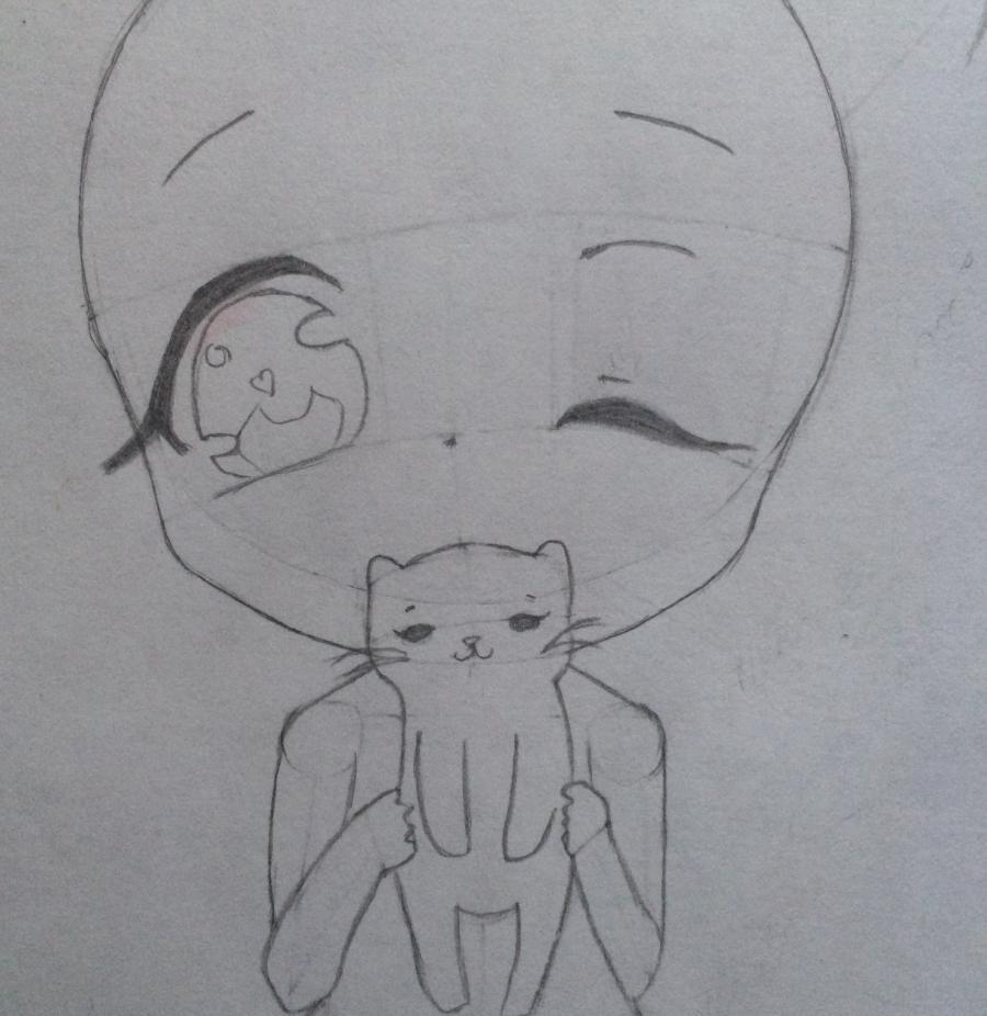 Рисуем и раскрасить девочку с котёнком в стиле чиби - шаг 7