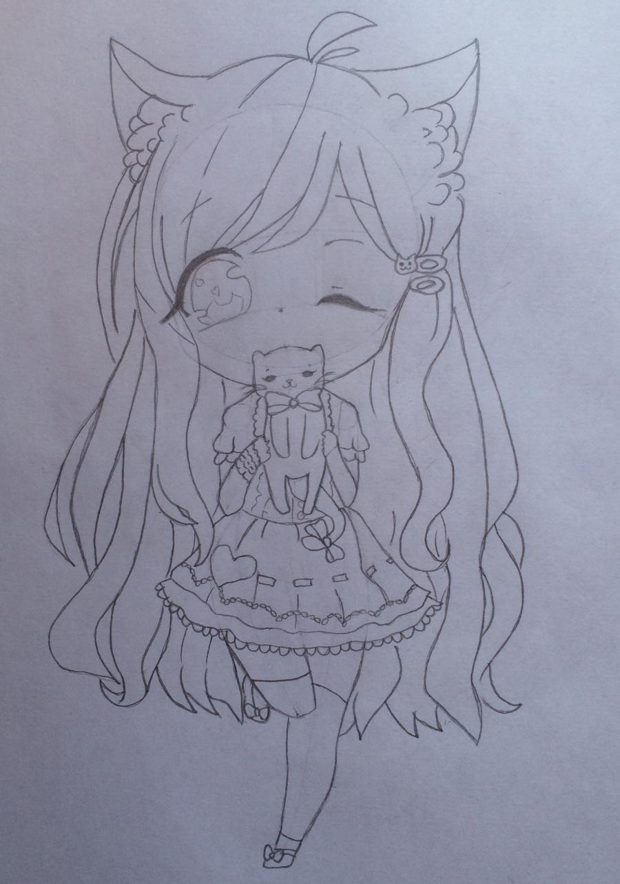 Рисуем и раскрасить девочку с котёнком в стиле чиби - шаг 8
