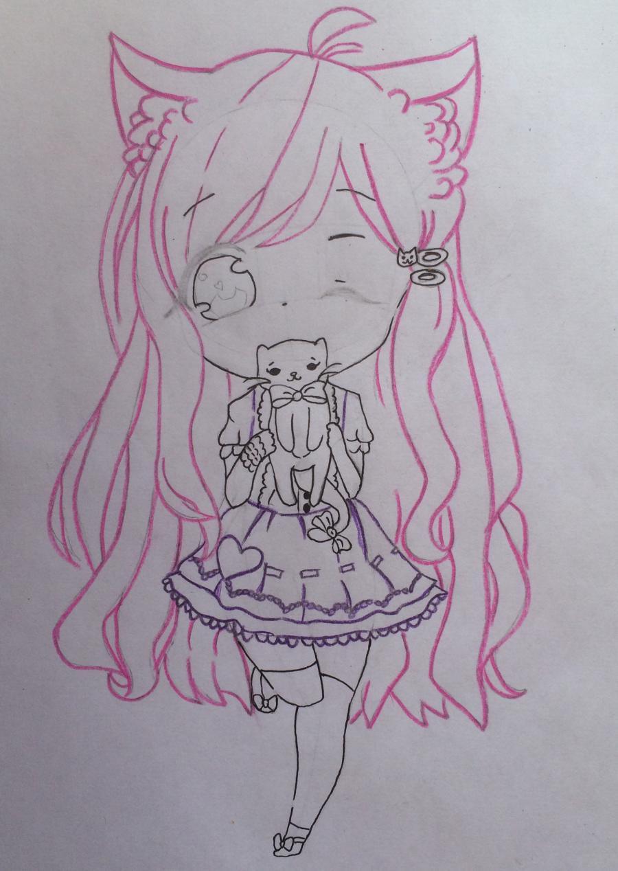 Рисуем и раскрасить девочку с котёнком в стиле чиби - шаг 9
