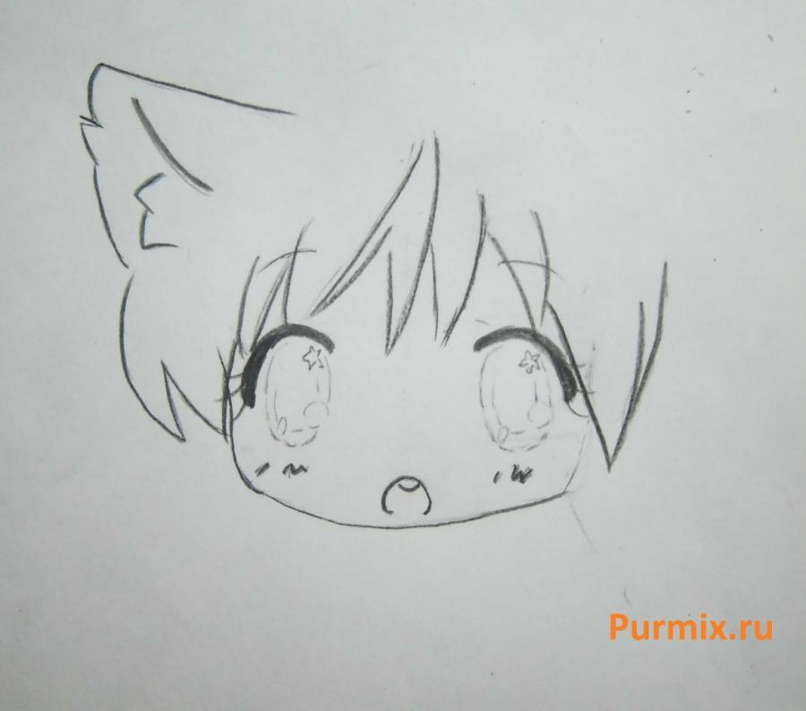 Рисуем неко в стиле чиби простым - шаг 5