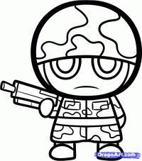 солдата в стиле чиби карандашом