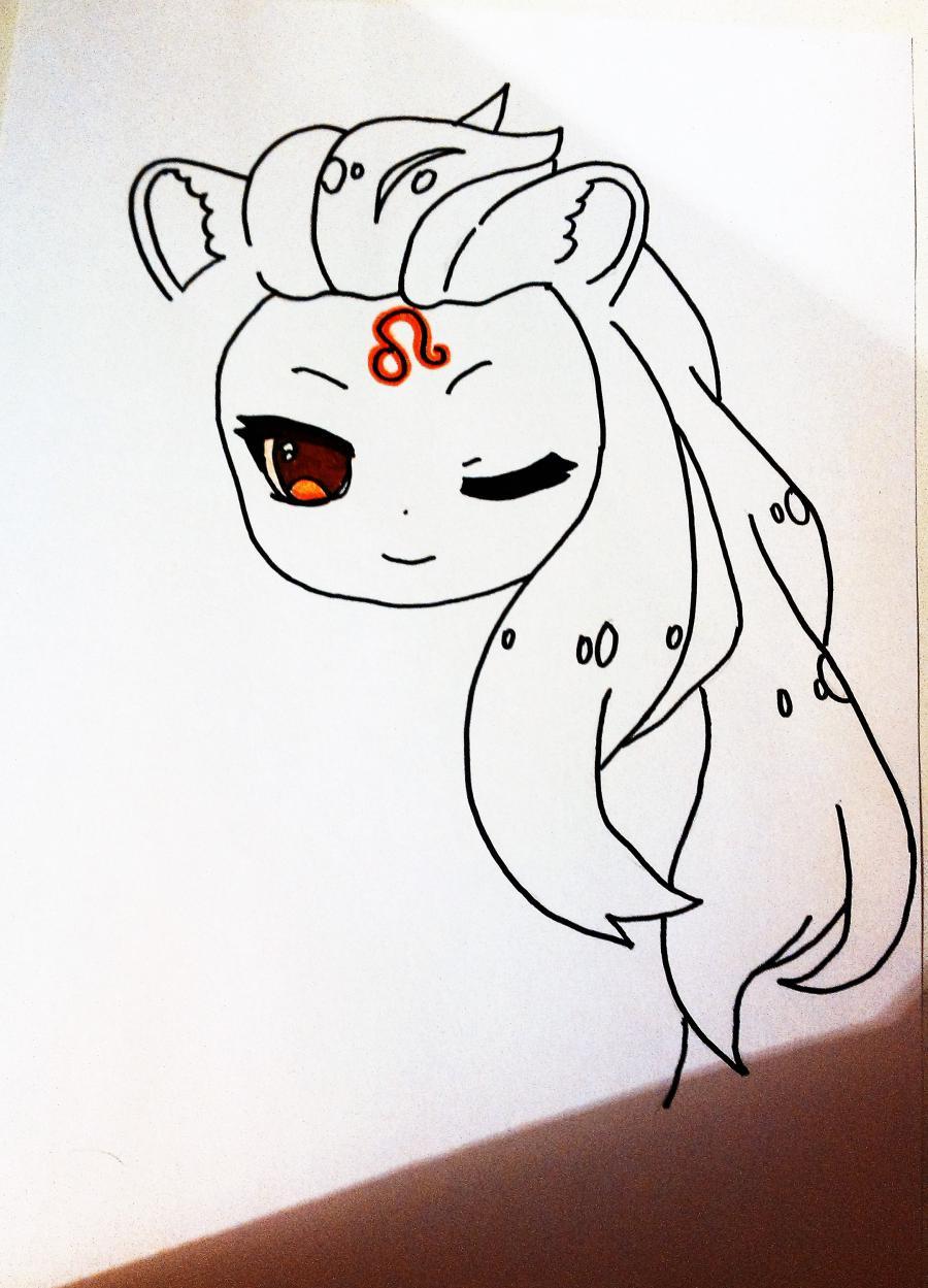 Рисуем знак зодиака лев в стиле чиби девочки  или маркером - шаг 2