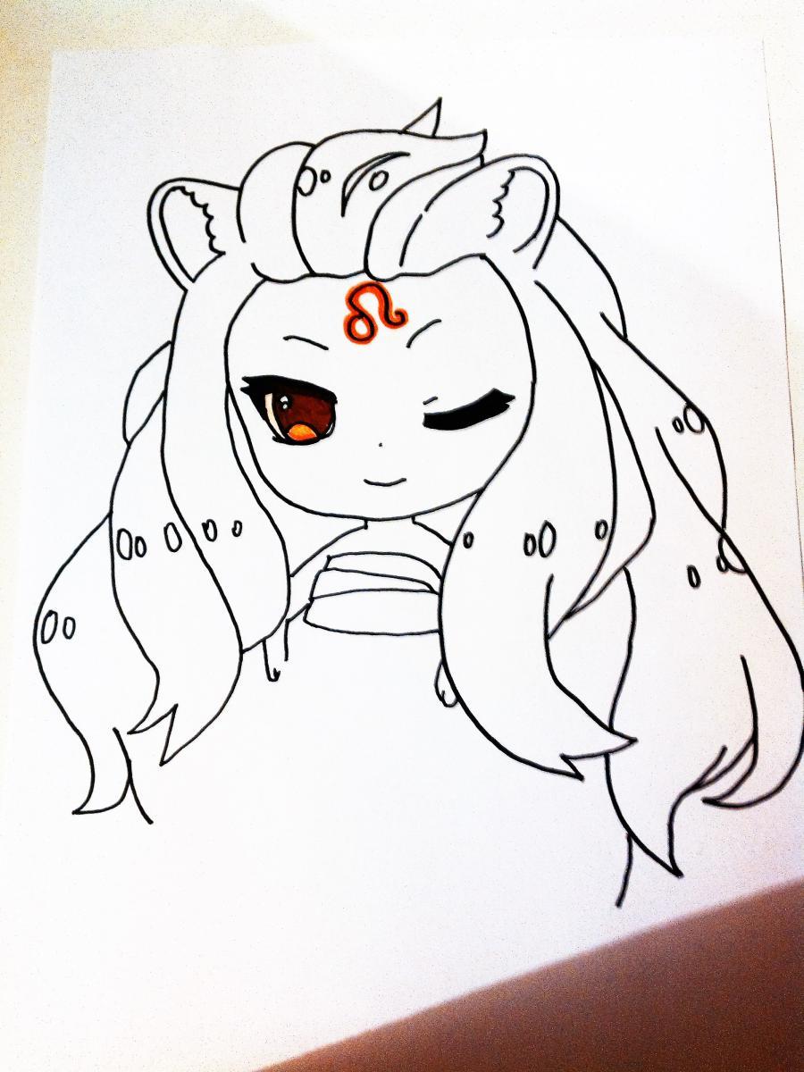 Рисуем знак зодиака лев в стиле чиби девочки  или маркером - шаг 3