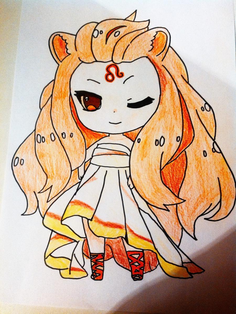 Рисуем знак зодиака лев в стиле чиби девочки  или маркером - шаг 5
