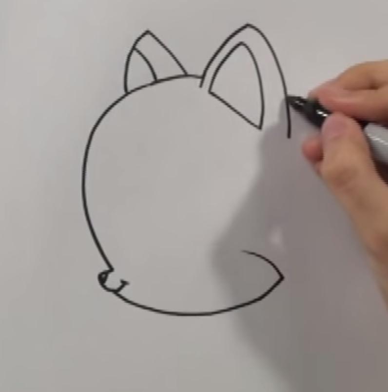Рисуем чиби котенка карандашами - шаг 1