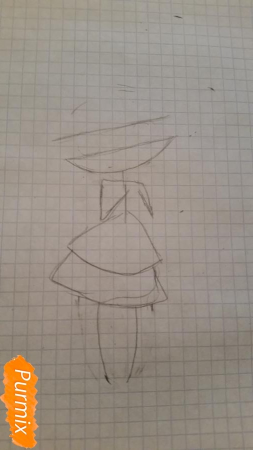 milaya-devochka-kotoraya-derzhit-v-rukah-svoi-volosy-1 Как нарисовать милую чиби девочку карандашом поэтапно