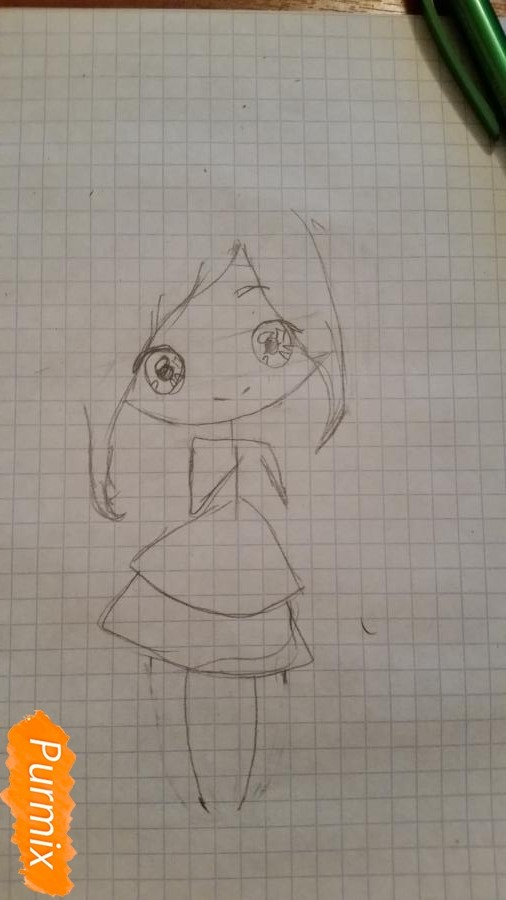 milaya-devochka-kotoraya-derzhit-v-rukah-svoi-volosy-2 Как нарисовать милую чиби девочку карандашом поэтапно