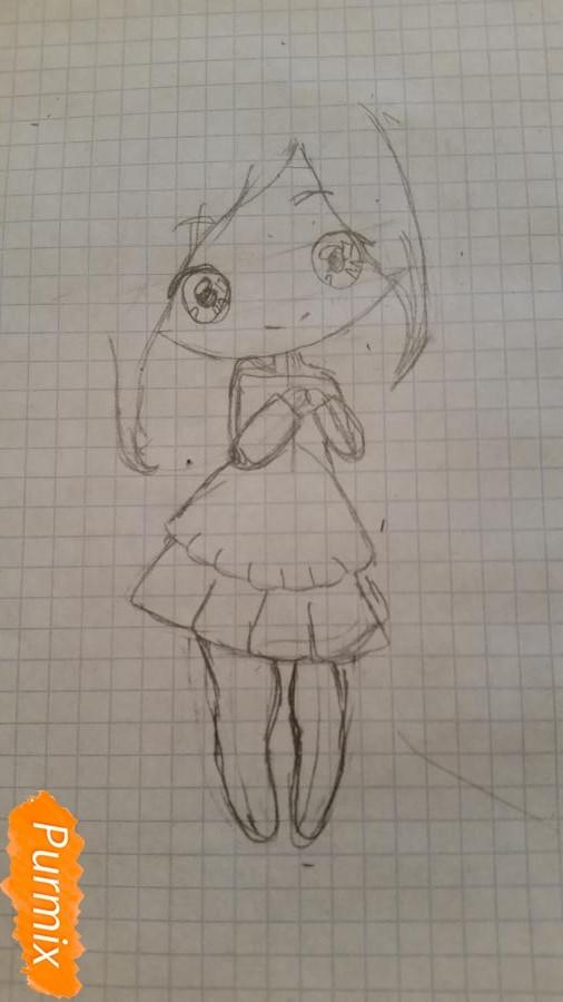 milaya-devochka-kotoraya-derzhit-v-rukah-svoi-volosy-3 Как нарисовать милую чиби девочку карандашом поэтапно