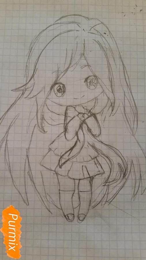 milaya-devochka-kotoraya-derzhit-v-rukah-svoi-volosy-4 Как нарисовать милую чиби девочку карандашом поэтапно