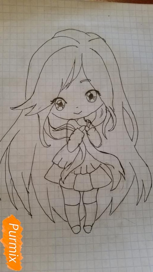 milaya-devochka-kotoraya-derzhit-v-rukah-svoi-volosy-5 Как нарисовать милую чиби девочку карандашом поэтапно