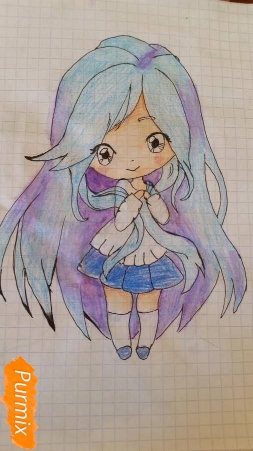 milaya-devochka-kotoraya-derzhit-v-rukah-svoi-volosy-6 Как нарисовать милую чиби девочку карандашом поэтапно